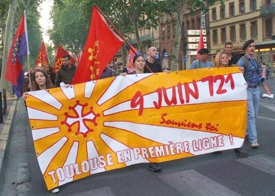 9 juin 721 - Bataille de toulouse - Manifestation du vendredi 27 mai 2011 en souvenir du 9 juin 721 - Banderolle : 9 juin 721, souviens toi, toulouse en première ligne