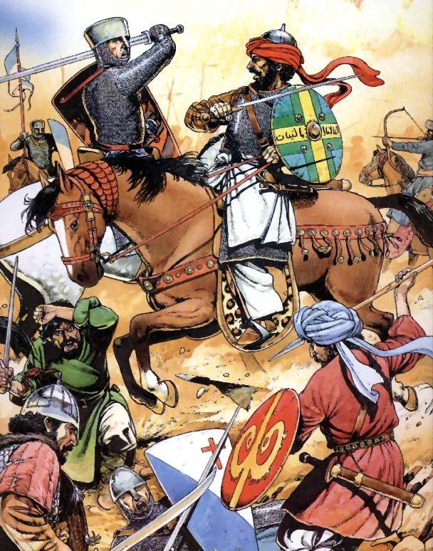 Un chevalier chrétien levant son épée sur un chevalier musulman - Bataille de Toulouse du 9 juin 721 qui vit le duc Eudes d'Aquitaine écraser les musulmans qui assiégeaient Toulouse.