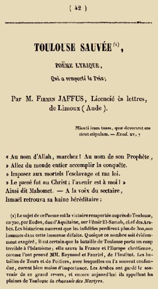 Ode au massacre de 3.750 envahisseurs musulmans à Toulouse par Eudes d'Aquitaine le 9 juin 721. POËME LYRIQUE par M. Firmin JAFFUS, Licencié ès lettres, de Limoux (Aude)